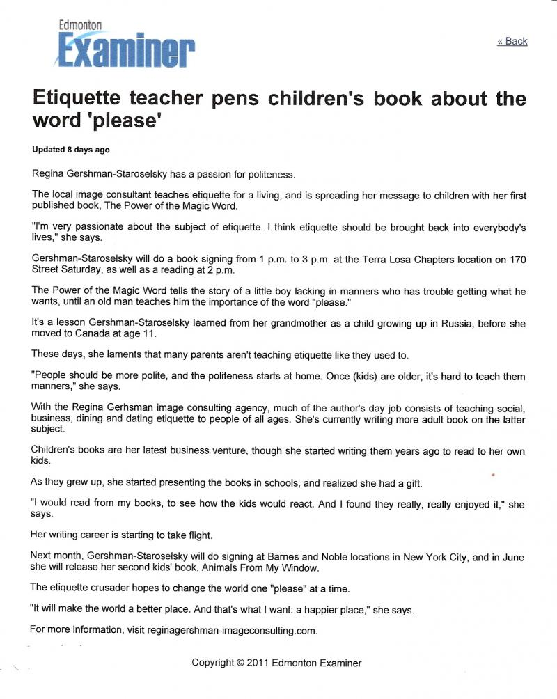 "Edmonton Examiner - Etiquette teacher pens children's book ""please"""